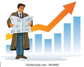 A businessman reading a good news, vector
