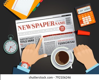 Businessman reading newspaper at the breakfast. Hands pointing. Businessman morning press and coffee. Vector illustration