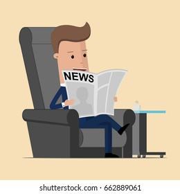 Businessman reading a newspaper. Vector Illustration.