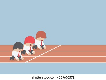 Businessman ready to run at start point, Business competition concept, VECTOR, EPS10