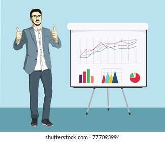 Businessman in realistic style showing fingers up. Guy stay and presentation of chart, infographics and graphics on Flipboard