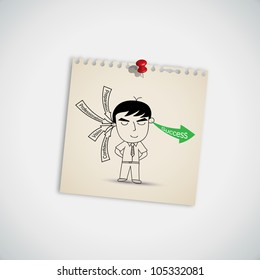 Businessman Receive Key Concept For Success in Business on Note Paper Vector
