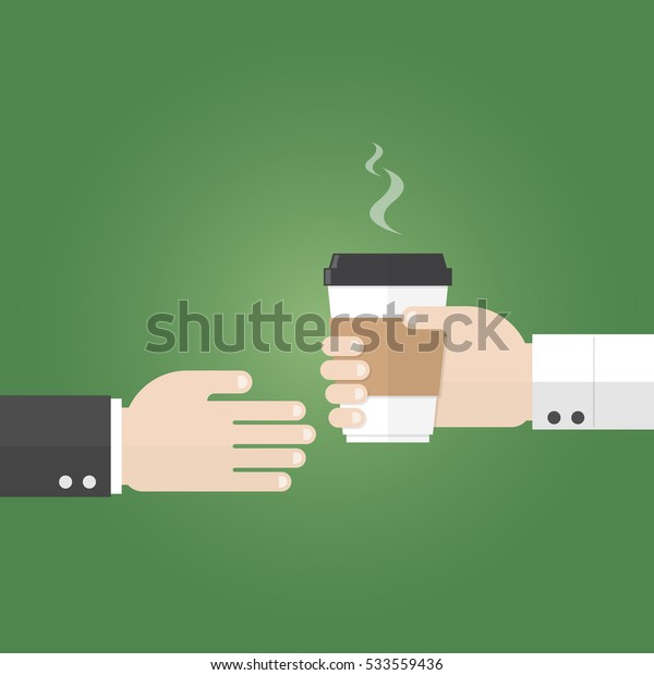 businessman receive paper cup of coffee from seller hand on green background