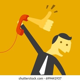 businessman receives like sign from telephone call