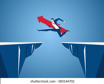 Businessman with red arrow sign jump through the gap between hill. Running and jump over cliffs. Business risk and success concept. Cartoon Vector Illustration.