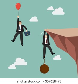 Businessman with red balloon fly pass businessman hold on the cliff with burden. Business competition concept