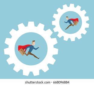 businessman with red cape and breafcase in hand running in cog gear wheels, business movitation concept cartoon vector illustration