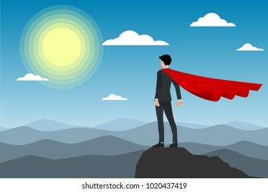 Businessman in red cape standing on the top of the moutain under the sun. Flat vector illustration design of the employee character congratulation.
