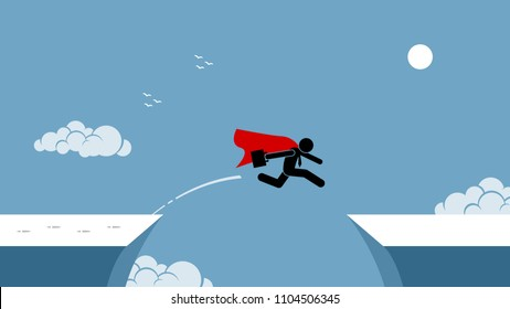 Businessman with red cape taking risk by jumping over a chasm. Vector artwork depicts the concept of courage, risk taking, bravery, determination, daring, and bold.