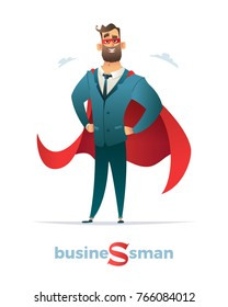 Businessman in red cloak or cape and eye mask, standing in a superhero pose
