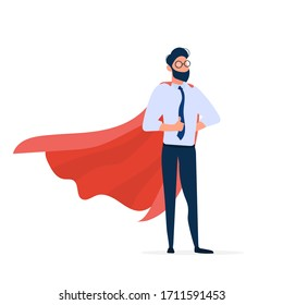 Businessman with a red cloak. The concept of leader, superhero. Entrepreneur shows a class. Isolated. Vector.