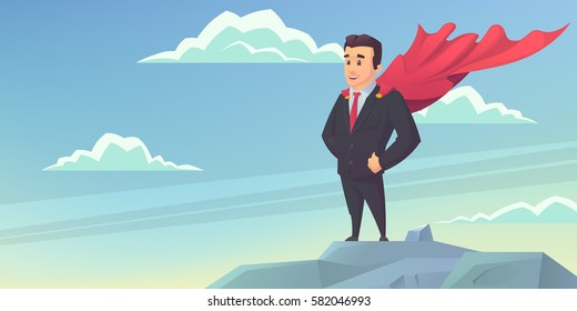 Businessman with a red cloak on top of the mountain. Success concept vector illustration