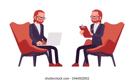 Businessman, red haired office worker sitting working with laptop. Manager in smart formal wear, administrative person, employee. Vector flat style cartoon illustration isolated, white background