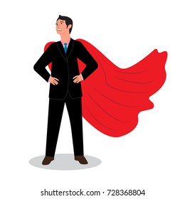 Businessman in a red raincoat. Hero. Vector illustration.