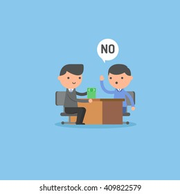 Businessman refusing the offered money.  Business concept illustration.