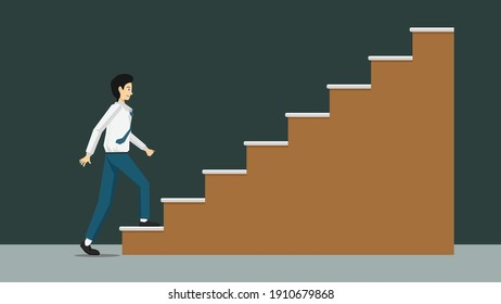 Businessman in relax business suit walking up stairs brown color. Walking up to the goal. Isolated vector illustration on dark background.