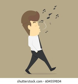 Businessman relax by listening to whistling music. vector