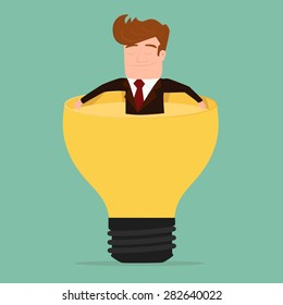 Businessman relax and soaking in lightbulb idea .Cartoon Vector Illustration