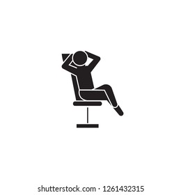Businessman relaxation black vector concept icon. Businessman relaxation flat illustration, sign