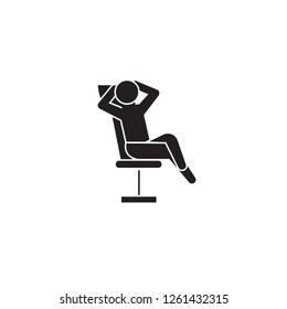 Businessman relaxation black vector concept icon. Businessman relaxation flat illustration, sign