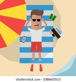 Businessman relaxes on the beach on vacation. Remote working concept. Vector illustration
