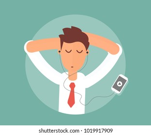 businessman relaxing and listening music in headphone