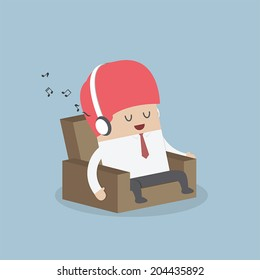 Businessman relaxing on sofa and listening to his headphones, VECTOR, EPS10