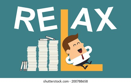 "Businessman Relaxing With the Word ""Relax"", Business concept"