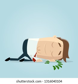 businessman resting on his laurels