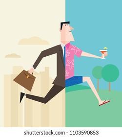Businessman retiring or on vacation and enjoying work life balance