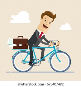 Businessman ride a bike to work with documents in briefcase. Vector, Illustration, Flat