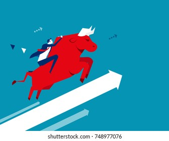 Businessman ride a bull. Concept business vector illustration. Flat design style.