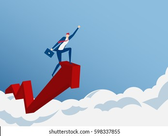 Businessman ride growth arrow graph on cloud get a lot of money. Investment financial and success concept. Cartoon Vector Illustration.