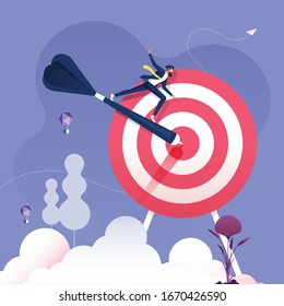 Businessman rides on darts to target-Business success concept