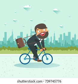 Businessman riding a bicycle on city background. Vector illustration.