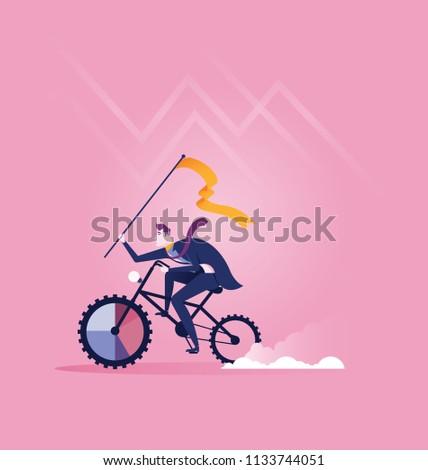 Businessman Riding Bike Target Concept Business Stock Vector