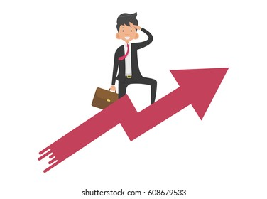 Businessman riding growth arrow graph and looking to successful, Vector illustration flat design style and isolated on white background