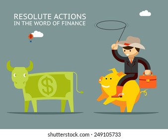 Businessman riding on a golden pig catches dollar bull. Fundraising concept. Vector illustration