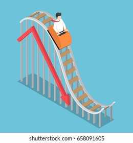 Businessman is Riding on a Roller Coaster with Falling Graph, Bankruptcy and Financial Crisis Concept