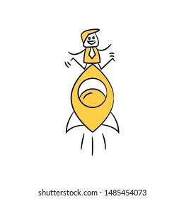 businessman riding rocket icon yellow stick figure