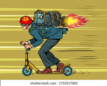 A businessman is riding a scooter. high speed jet engine. Pop art retro vector illustration 50s 60s kitsch vintage style