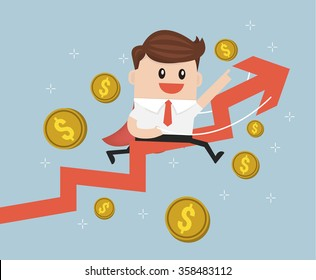 Businessman riding success arrow graph