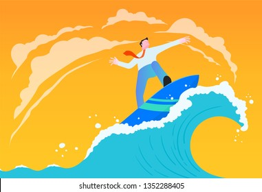 Businessman riding wave illustration. Business concept.