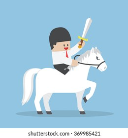 Businessman riding white horse and holding sword, VECTOR, EPS10