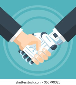 Businessman and robot handshake. Vector flat illustration