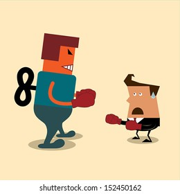 Businessman and robot having a fight with boxing gloves.