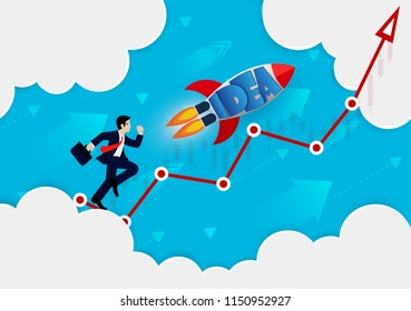 Businessman and rocket competition on red arrow. go to the goal of financial business success and effort go to target growth. creative idea. leadership. vector illustration