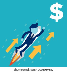 businessman rocket ride is helping hand to success financially dollar. business concept illustration.