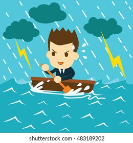 businessman rowing boat in the sea during a storm