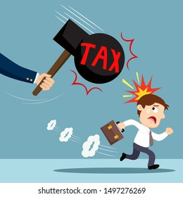 Businessman run away from tax hammer, illustration vector cartoon